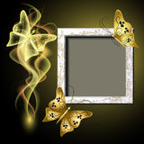 Photo frame, butterflies and smoke Stock Image