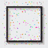 Photo frame template with confetti. Carnival festive black Photo frame and falling bright confetti on checkered transparent background for Birthday, Holiday Royalty Free Stock Photography
