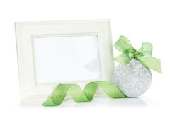 Photo frame and christmas decor with ribbon Royalty Free Stock Images