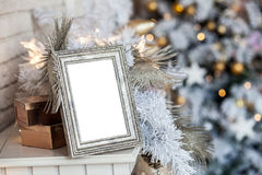 Photo frame in christmas decorated background Royalty Free Stock Photo
