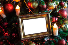 Photo frame in christmas decorated background stock photo
