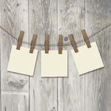 Photo frame with clothespin . Realistic. Stock Photos