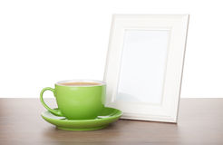 Photo frame and coffee cup Stock Photography