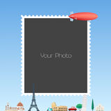 Photo frame collage with cartoon background with Eiffel tower, zeppelin vector illustration Stock Images