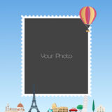 Photo frame collage with cartoon background for European countries and hot air balloon vector illustration Stock Photos