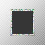Photo frame with colored confetti. Photo frame with flying confetti of different colors isolated on a translucent background Stock Images