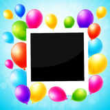 Photo frame with colorful balloons Stock Photography