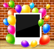 Photo frame with colorful balloons background. Photo frame with colorful balloons vector background Stock Image
