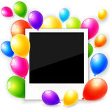 Photo frame with colorful balloons Stock Image