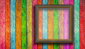 Photo frame on Colorful wood Royalty Free Stock Photo