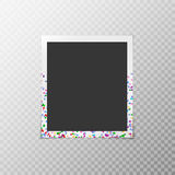 Photo frame with confetti. Simple photo frame with multi-colored confetti on a transparent background Stock Photo