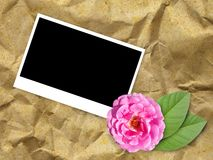 Photo frame on crumpled paper Royalty Free Stock Photo