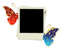 Photo frame design with butterfly decoration Royalty Free Stock Images