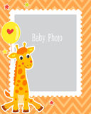 Photo Frame Design For Kid With Cute Giraffe. Decorative Template For Baby Vector Illustration. Birthday Children Photo Framework. Royalty Free Stock Images