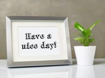 Photo frame on desk stock photos