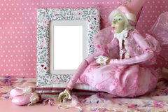Photo frame with fairy in pink Royalty Free Stock Photos