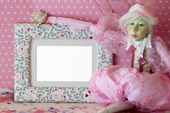 Photo frame with fairy in pink Royalty Free Stock Image