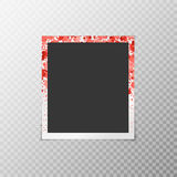 Photo frame with falling hearts. Of confetti on a transparent background vector illustration