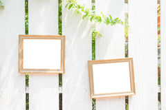 Photo frame on the fences Royalty Free Stock Photo