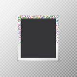 Photo frame with festive confetti Royalty Free Stock Photos
