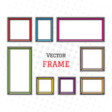 Photo frame in flat style,  on background. Set of empty picture frames. Stock Photos