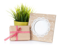 Photo frame, flower and gift box Royalty Free Stock Image