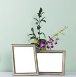Photo frame and flowers Royalty Free Stock Photography