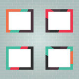 Photo Frame. Four photo frames on the brick wall background. Flat design vector illustration