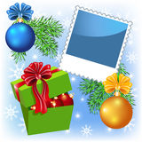 Photo frame with Gift Box and Christmas balls Royalty Free Stock Photography