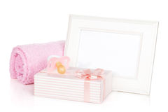 Photo frame with gift box and girl dummy Stock Image