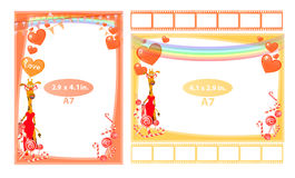 Photo frame with giraffe girl and hearts a7. Horizontal and vertical. Illustration for your design Stock Photo