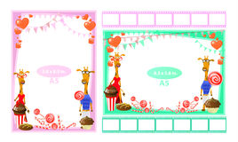 Photo frame with giraffes and sweet. Format a5 Royalty Free Stock Photos