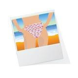 Photo frame with girl  illustration Stock Photos