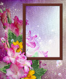 Photo frame with gladiolus Stock Photos