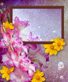 Photo frame with gladiolus Royalty Free Stock Photography