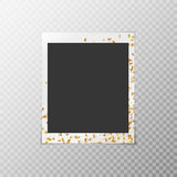 Photo frame with golden confetti Royalty Free Stock Photo