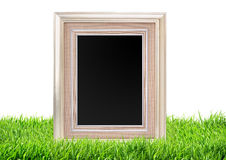 Photo frame on green grass nature over white Stock Photography