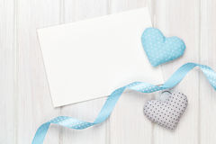 Photo frame or greeting card and handmaded valentines day toy he Stock Images