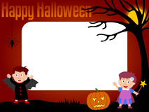Photo Frame - Halloween [3]. Photo frame, post card or page for your scrapbook. Subject: Halloween kids Stock Photos