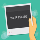 Photo frame in hand. Vector illustration Stock Photos