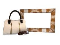Photo frame with a handbag and sunglasses fashion Stock Photo