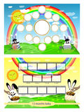 Photo frame of hares on the lawn and rainbow. Horizontal illustration for your design Royalty Free Stock Image