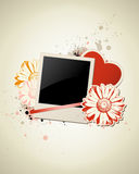 Photo frame with heart and flower Royalty Free Stock Photos