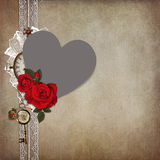 Photo frame heart-shaped, rose on a vintage background Stock Photography