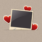 Photo frame with heart stickers Royalty Free Stock Image