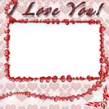Photo frame with hearts. For web or desktop Royalty Free Stock Photography