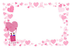 Photo frame. Hearts. for lovers. The couple. In a balloon is flying up. Horizontal orientation. Illustration for your design Royalty Free Stock Photo