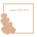 Photo frame with hearts made of cardboard. Love Stock Image