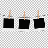 Photo frame hung on rope with clothespin on transparent background. Vector illustration Stock Photos