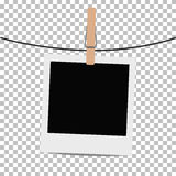 Photo frame hung on rope with clothespin on transparent background. Stock Photo